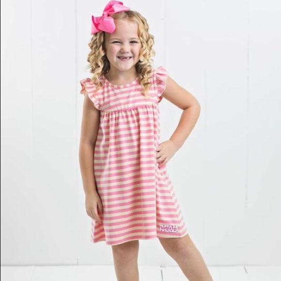 Ruffle Girl Other - Ruffle Girl Pink & Cream Core Stripe Pearl Dress